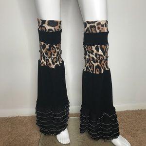 Trixy Xchange Cheetah Print Flared Leg Warmers